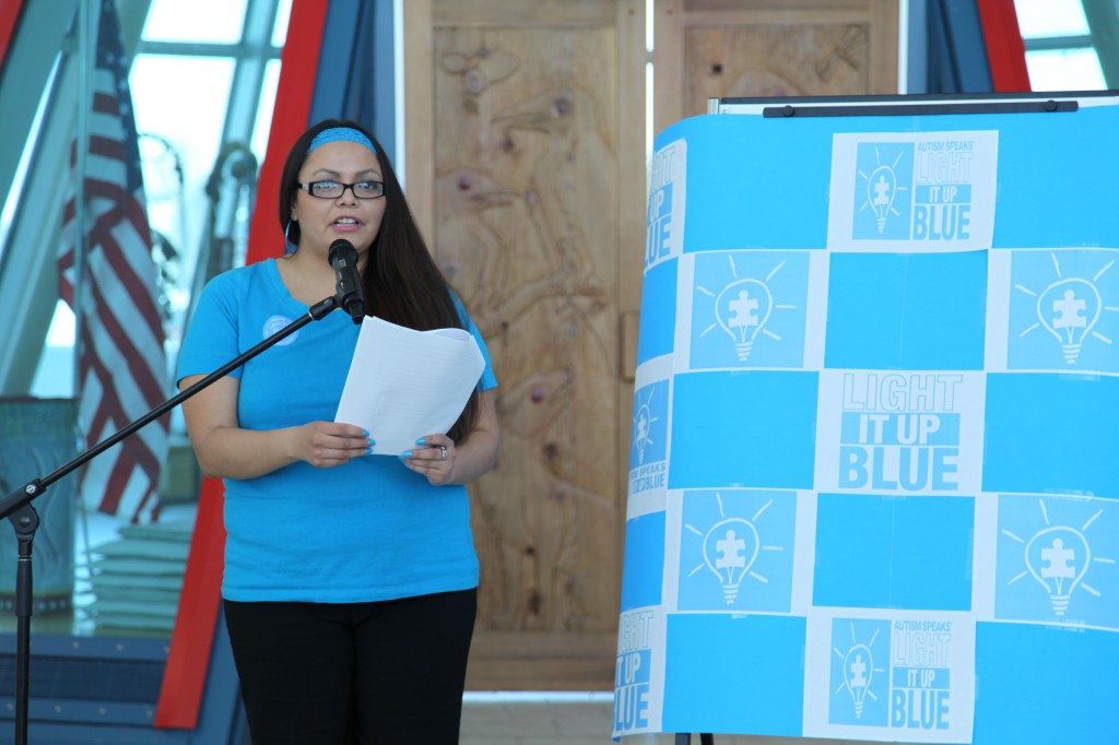 Jeanelle Mandes speaking at the autism conference she organized in April 2013.
