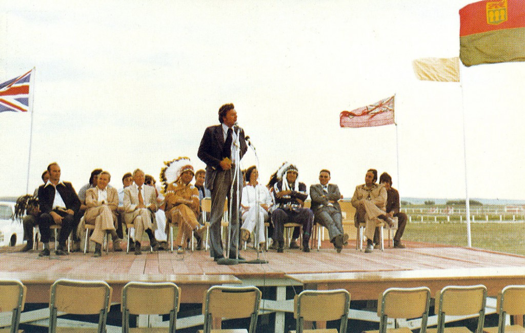 Dignitaries including Tony Cote at the opening ceremonies of the inaugural Saskatchewan Indian Summer Games.  Later the games would be renamed the Saskatchewan First Nation Summer Games. COURTESY: Tony Cote