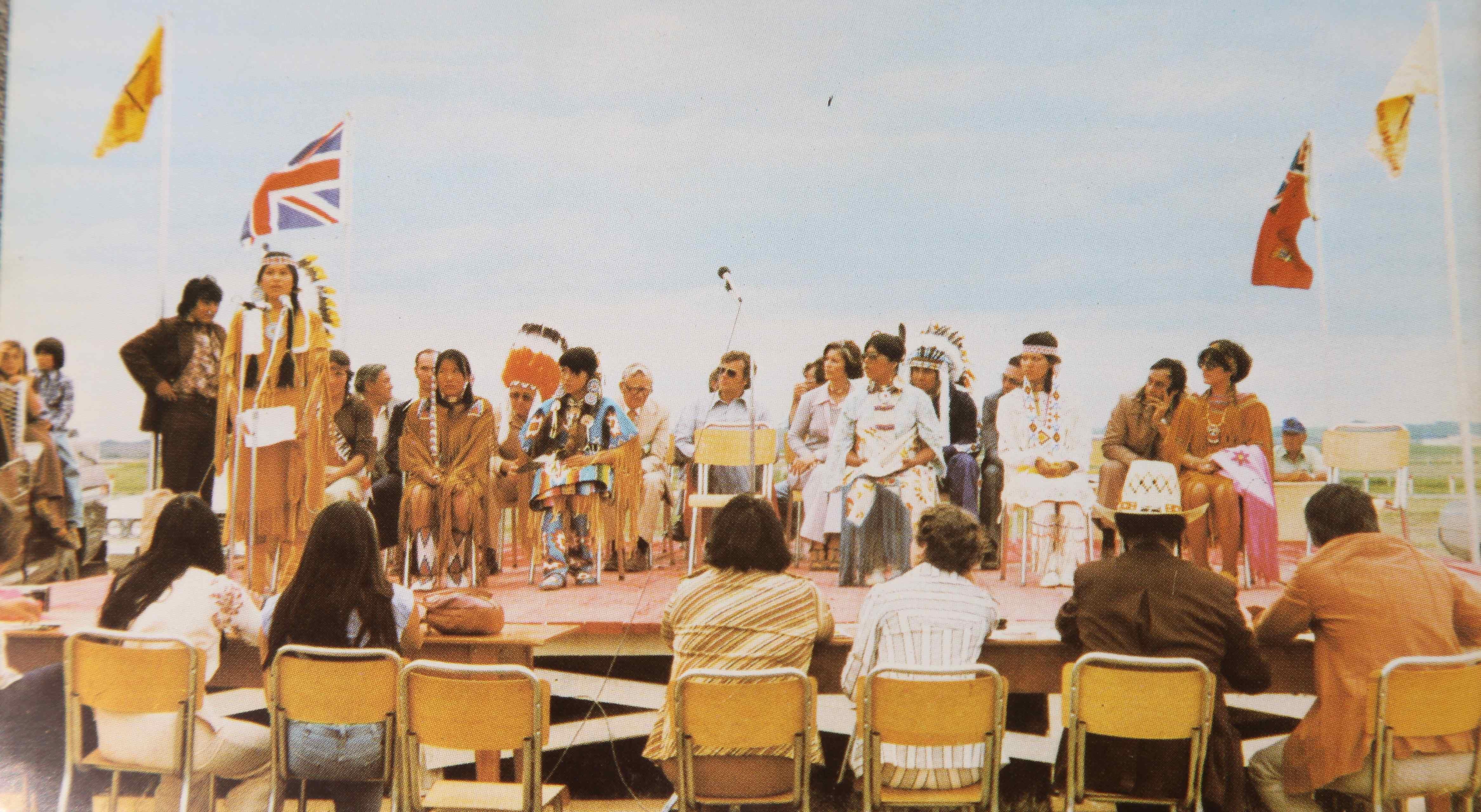 Indian Princess contestant, Denise Cote, delivers her address on Indian Culture, at the Saskatchewan Indian Summer Games, Cote Reserve, 1977.