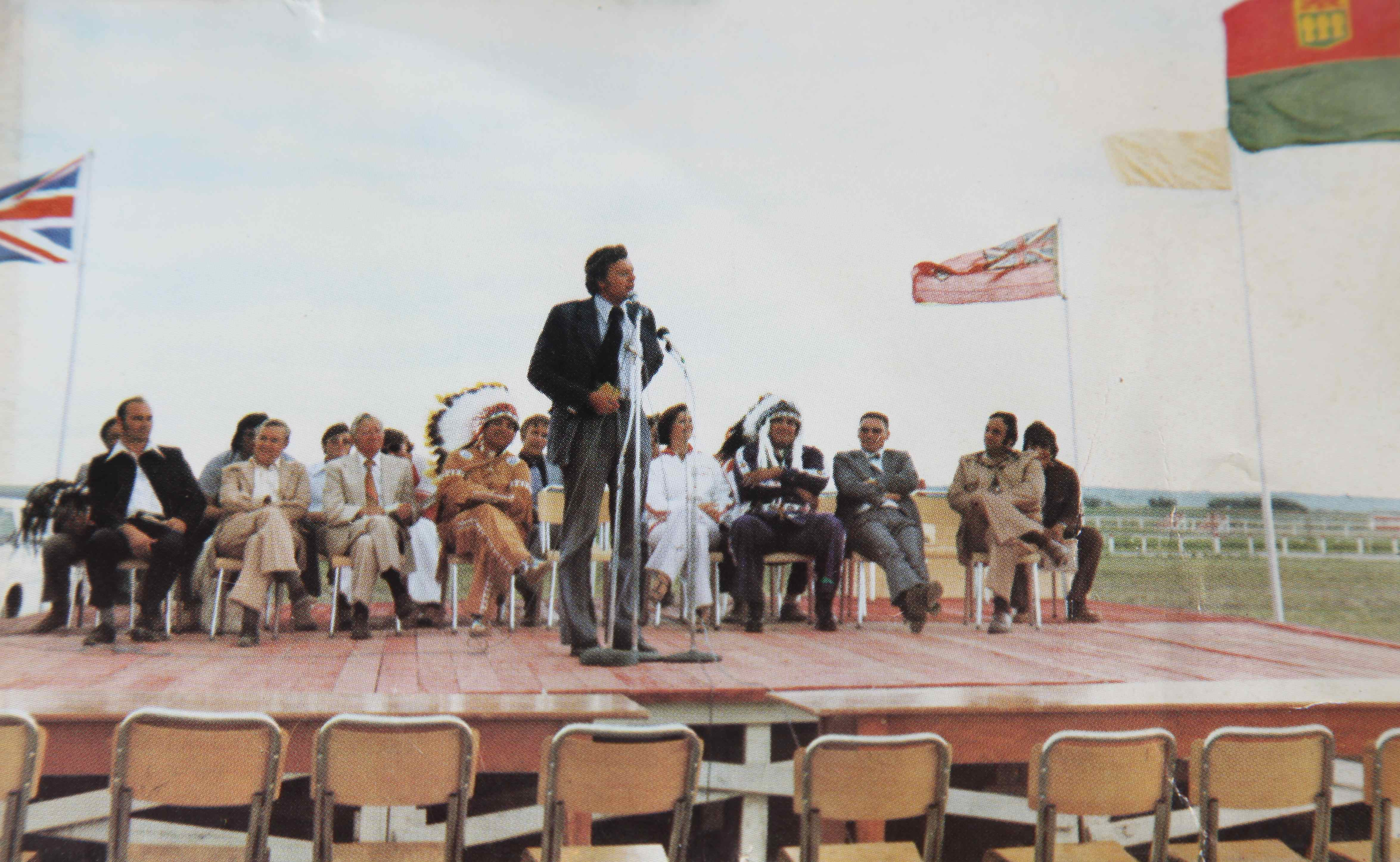 M.P. Lorne Nystrom, Yorkton-Melville Constituency, addresses crowd at the Saskatchewan Indian Summer Games, Cote Reserve, 1977