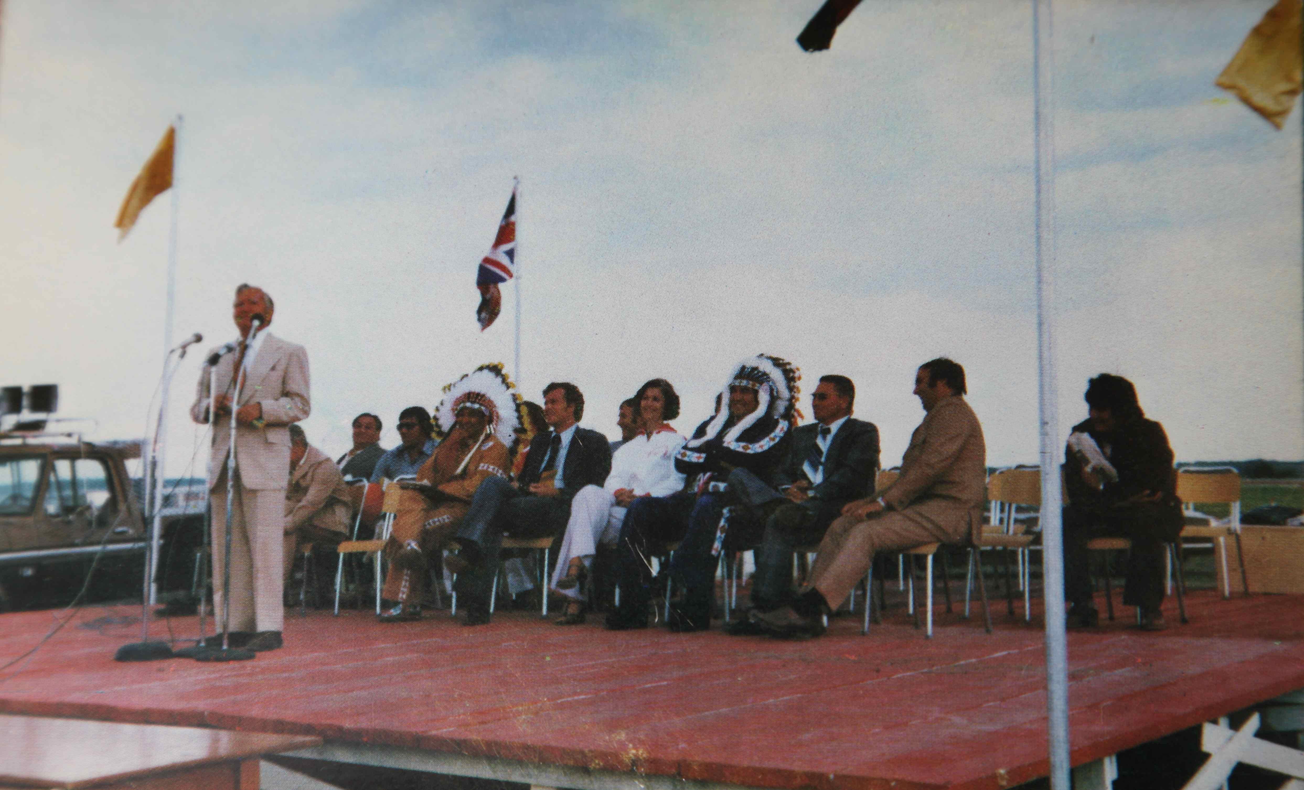 Senator Dave Stuart speaks at the Opening Ceremonies of the Saskatchewan Indian Summer Games, Cote Reserve, 1977.