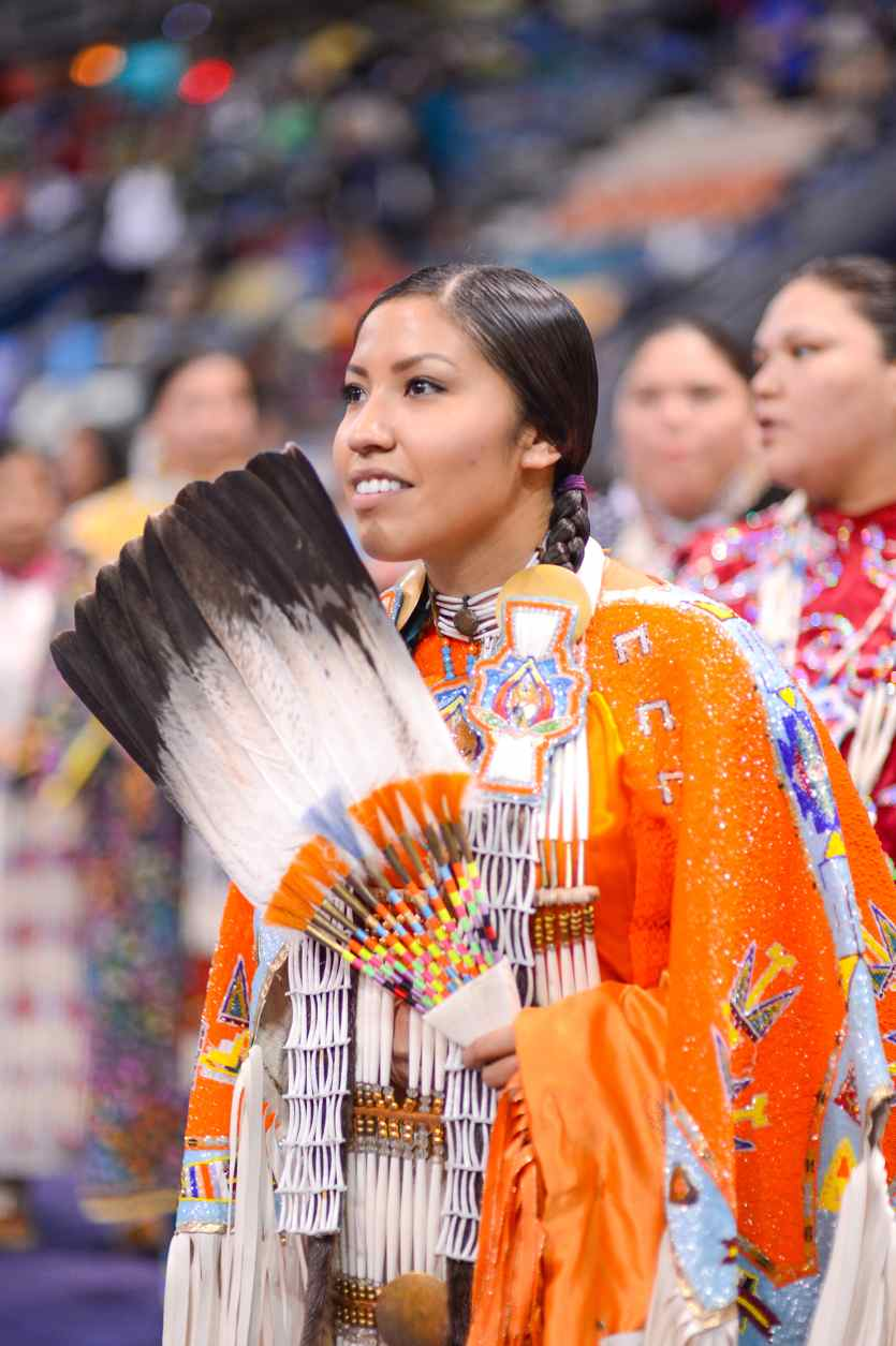 Womens traditional dancer andd FNUniv student Emery-rose Assiniboine