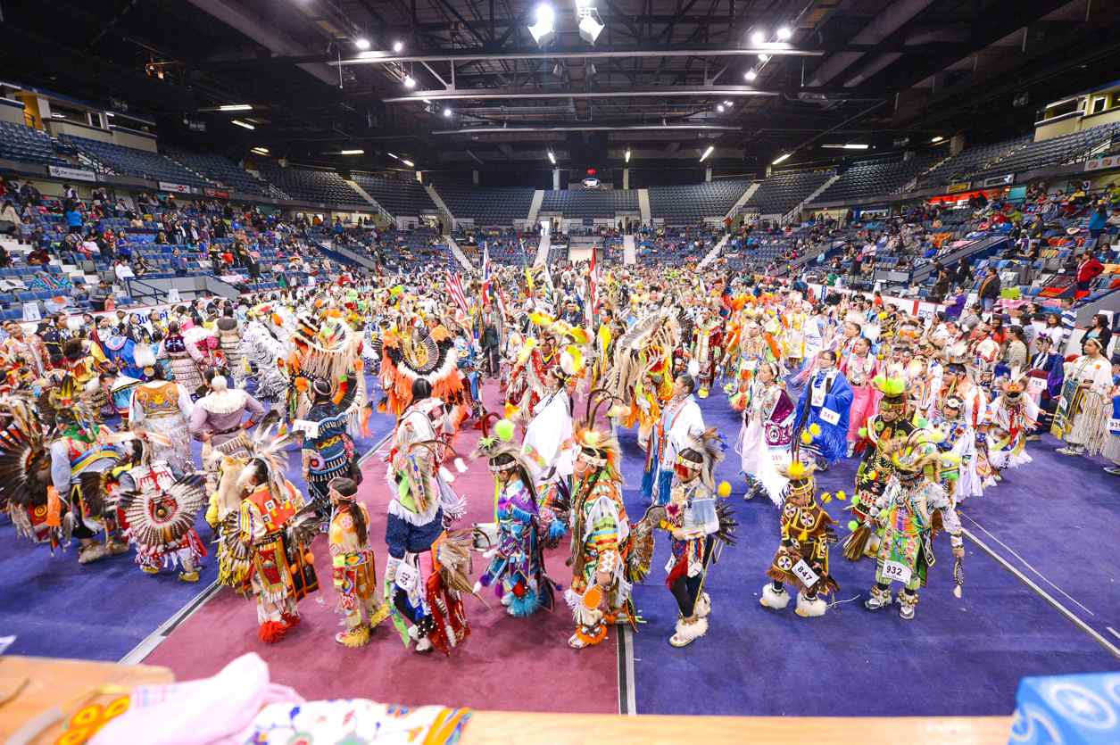 Registered dancers take part in Sunday Grand Entry